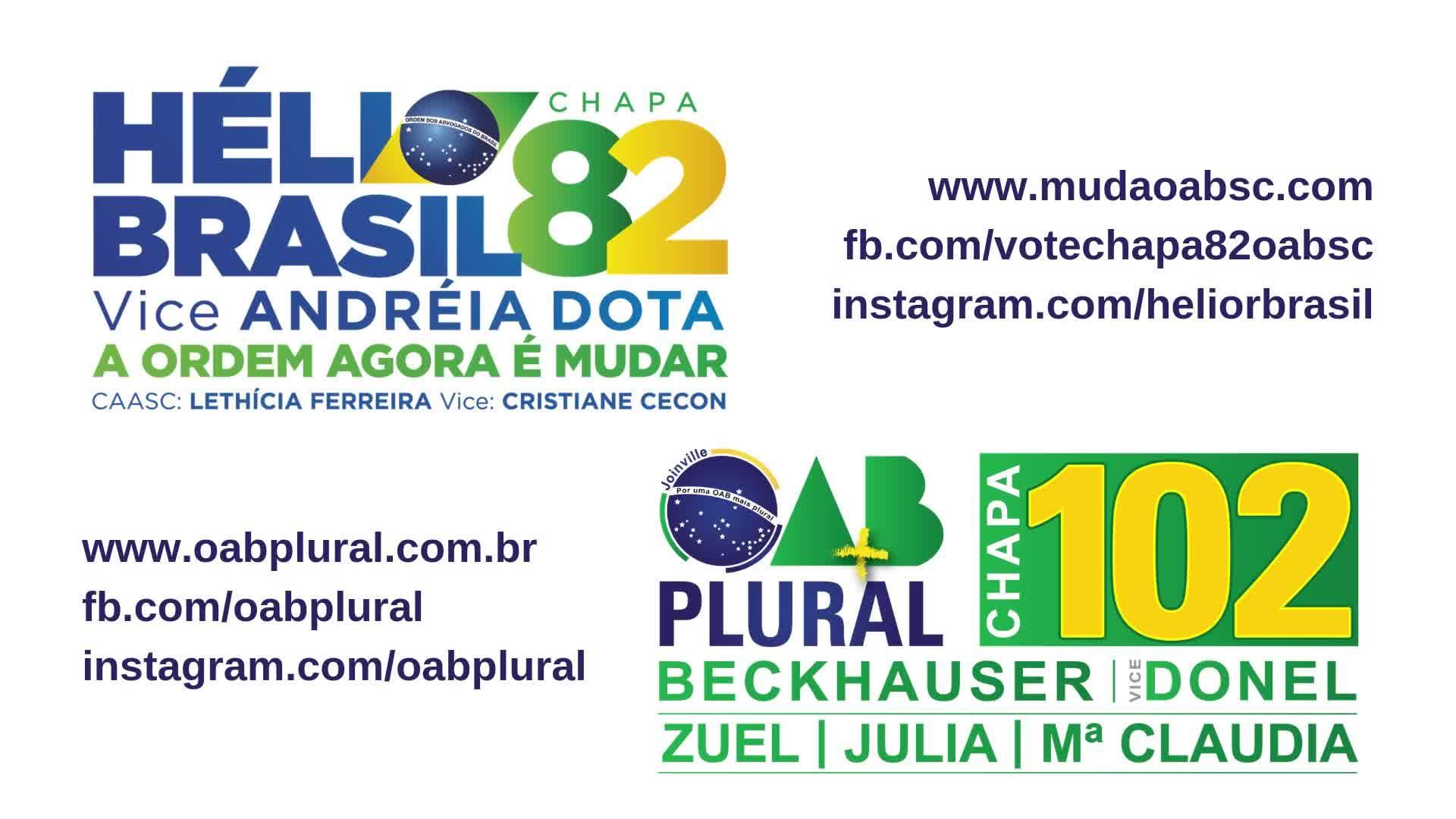 Dia 28/11 vote OAB Plural - CHAPA 102 - Subseção Joinville