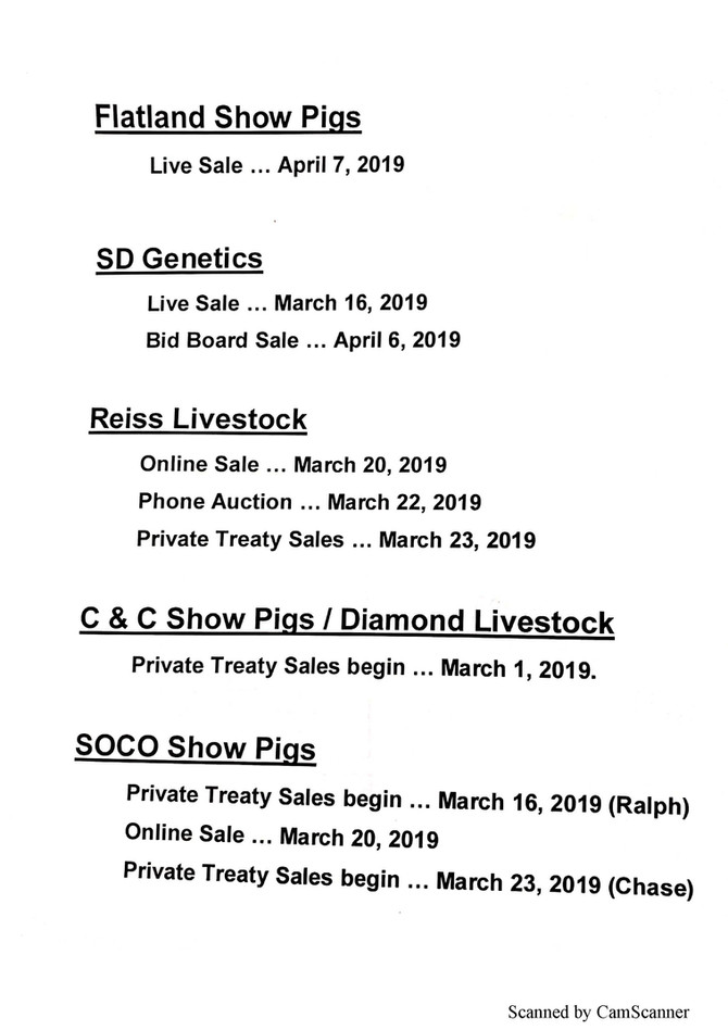 2019 Breed Sponsor Sale List