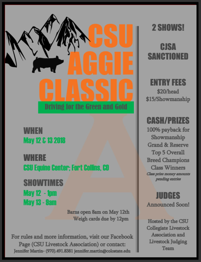 CSU Aggie Classic May 12 &13, 2018