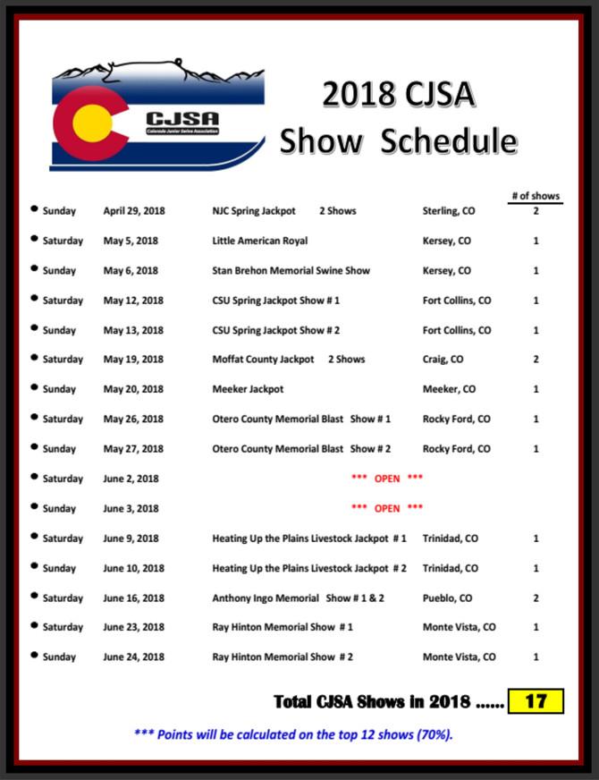 2018 CJSA Show Schedule