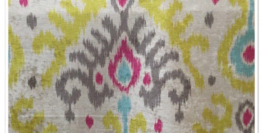 Aqua and Pink Ikat - Ikat Fabric
