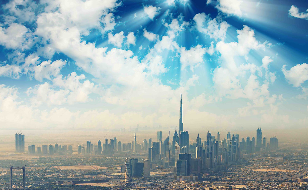 Beautiful skyline of Dubai surrounded by