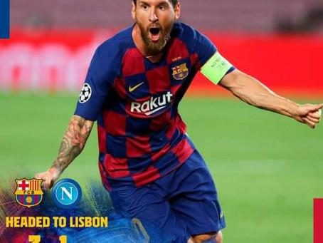 Na UCL show de futebol, mas Barça e Messi brilham mais e tem Barça nas quartas