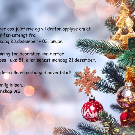 Juleferie - stengt 23/12 til 03/01