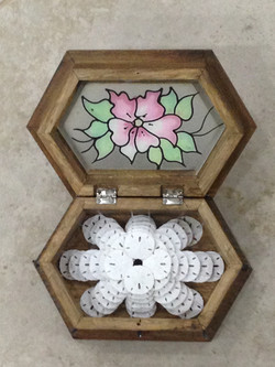 Wooden Box With Stained Glass lid Inside