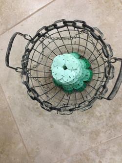 Round chain basket green sanddollars