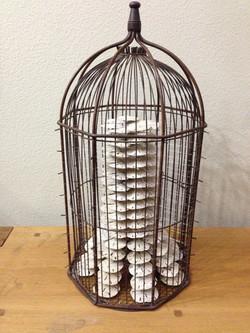 brown metal bird cage