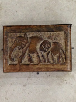 Small Carved Wooden Box Elephant Lid Outside