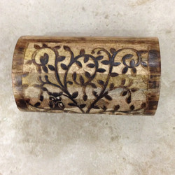 Carved Wooden Box Rounded Lid