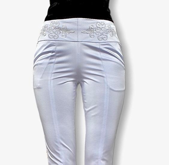Pantalon Hera blanc satiné, taille haute brodé
