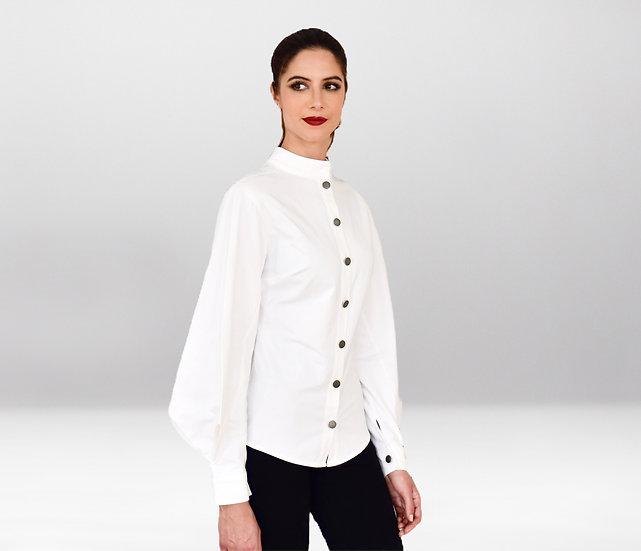 Chemise Thémis blanche avec Manche bouffante géométrique