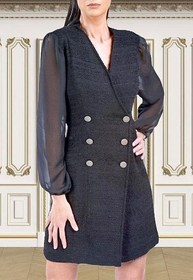Robe Atropos en tweed brodée à la taille en noir