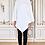 Thumbnail: Poncho Metis en coton molleton à capuche brodé en blanc