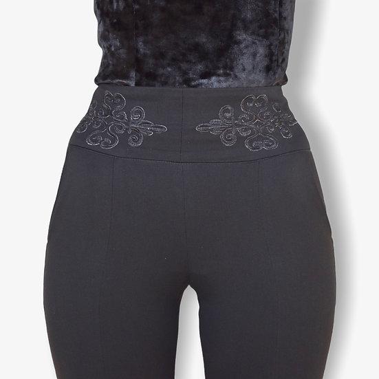 Pantalon Hera, taille haute noir, ceinture brodée