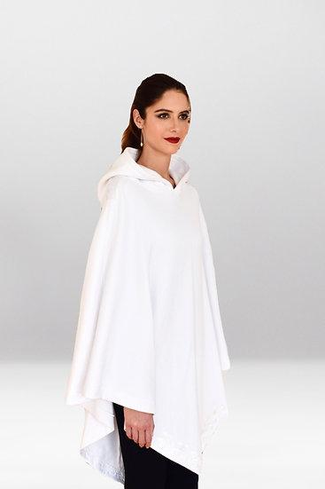 Poncho Metis en coton molleton à capuche brodé en blanc