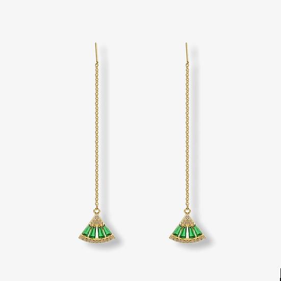Boucles d'oreilles Anat, pierres verte émeraude