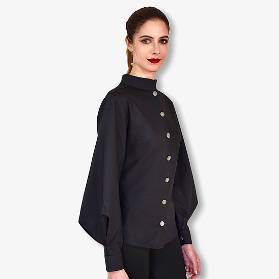 Chemise Thémis noir avec manche bouffante géométrique
