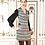 Thumbnail: Robe Atropos en tweed à rayures brodée à la taille en noir