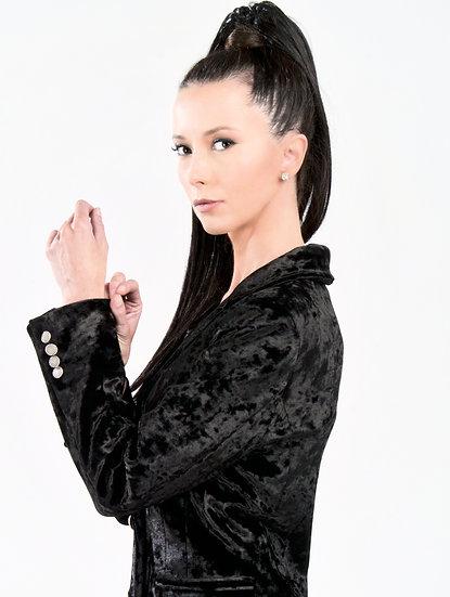 Manteau Mona en velours noir signé Hind