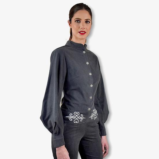 Chemise Thémis gris en coton gratté avec manche bouffante géométrique