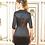 Thumbnail: Robe Décima en noir profond satinée et brodée au buste