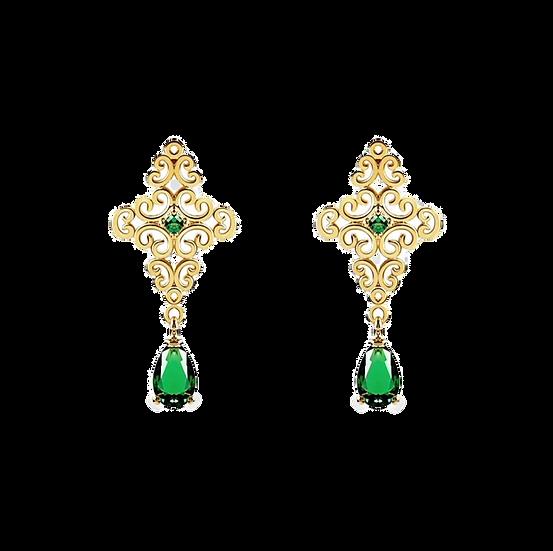 Boucles d'oreilles Atoum, pierres verte émeraude et métal doré à l'or fin