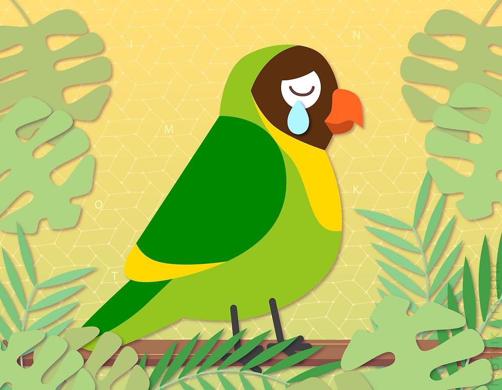 Ilustração de um papagaio triste
