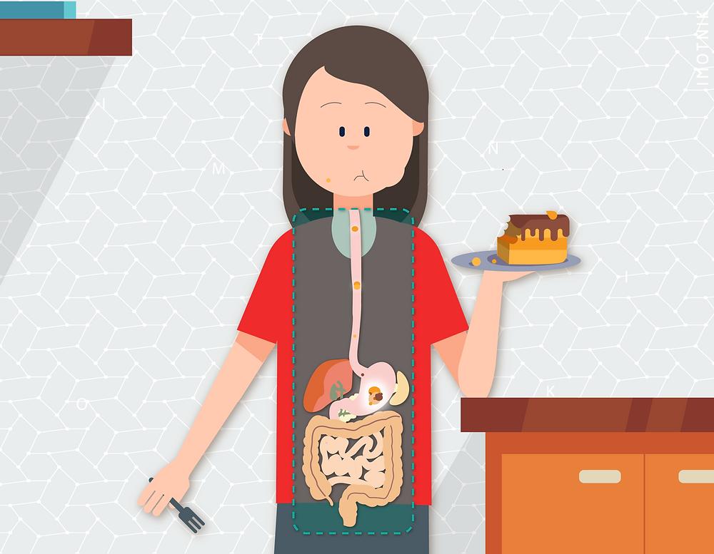 Ilustração de uma pessoa comendo bolo