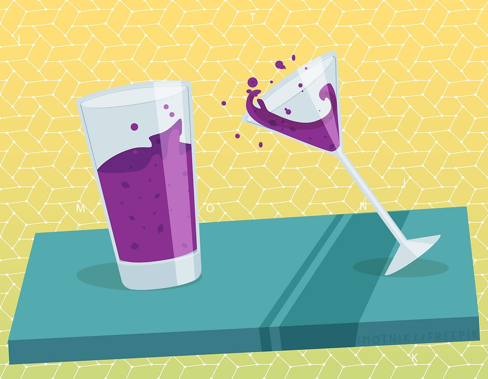 uma taça e um copo mostrando a diferença de estabilidade
