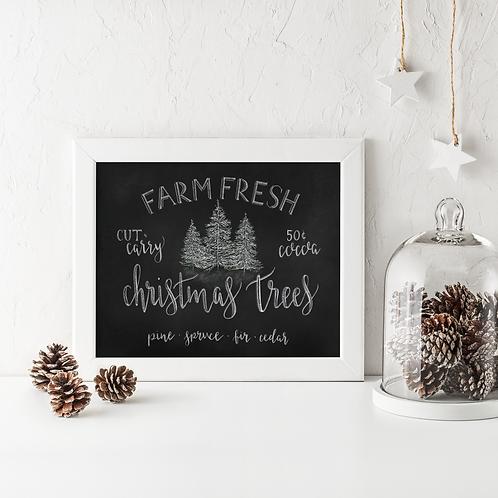 Farm Fresh Christmas Tress Chalk Art Print