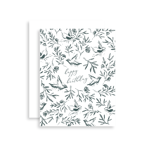 Happy Birthday Birds + Floral Card