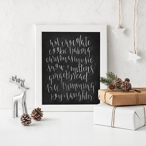 All The Christmas Things Chalk Art Print