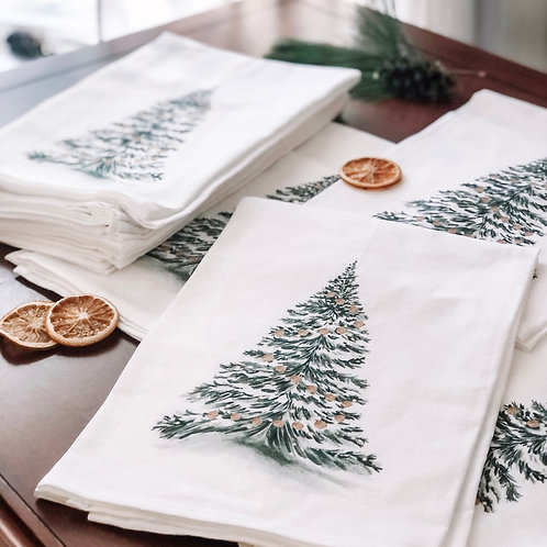 Watercolor Christmas Tree Tea Towel