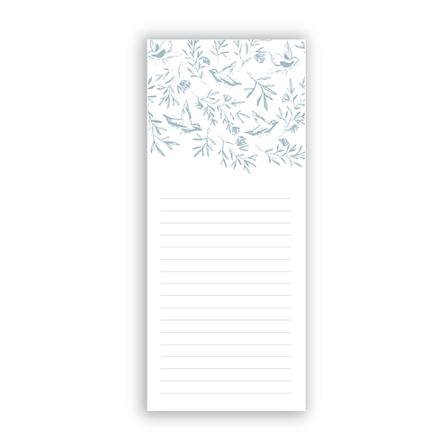 Birds + Floral Notepad in Dusty Blue