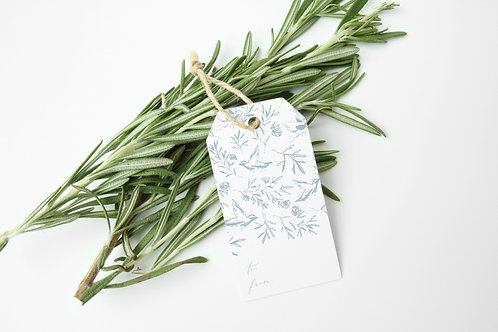 Birds + Floral Gift Tags in Dusty Blue