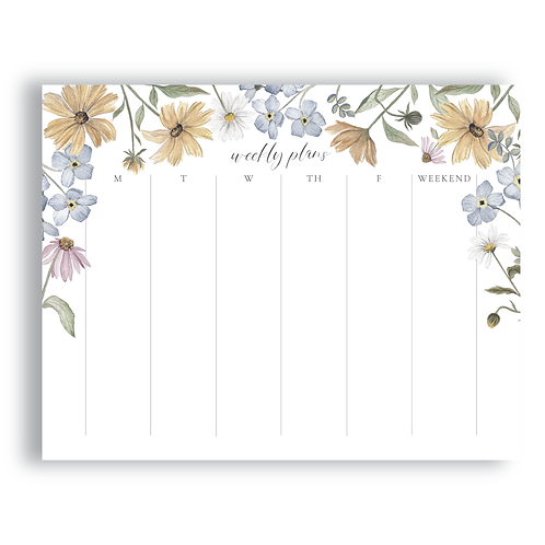 Wildflower Weekly Organizer Notepad