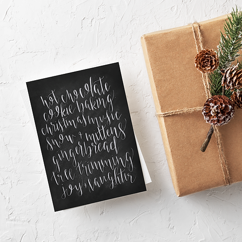 All The Christmas Things Chalk Card