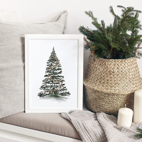 Watercolor Christmas Tree Art Print