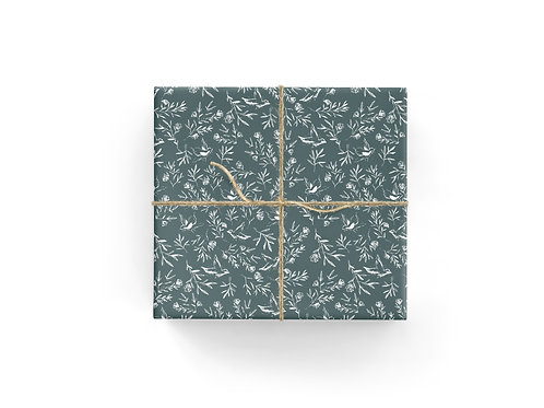 Birds + Floral Gift Wrap Sheets in Teal