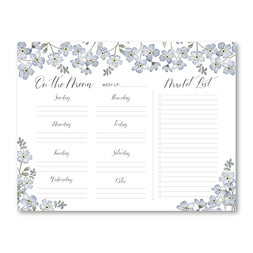 Forget-Me-Not Weekly Meal Plan Notepad
