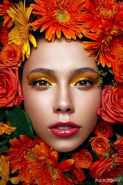 Floral Orange and Yellow Glossy makeup editorial shoot