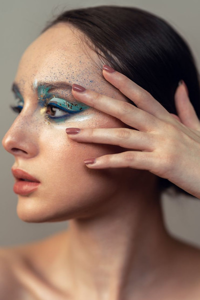 Blue white gold creative makeup look