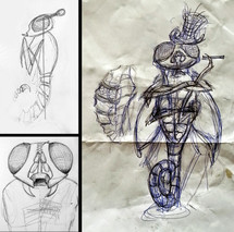 First idea sketches for form and structure of the figure