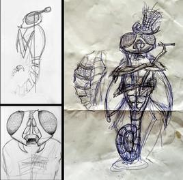 Erste Ideenskizzen zum Aufbau der Figur