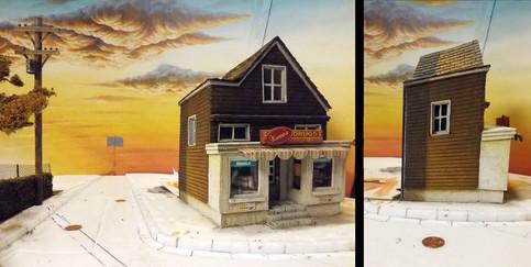 Die rechte Straßenseite/Drogerie + Bar: