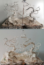 Working out the tree shapes with wire and glue-paper-machée