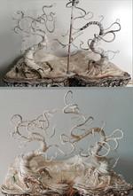 Ausarbeiten der Baumformen mit Draht und Leim-Papier-Machée