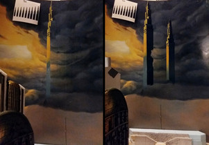 Painting the citys skyline at the rear board