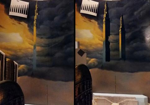 Aufmalen der Skyline-Gebäude auf die Rückwandplatte