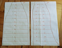 Drawing up templates for the Ugglys body in longitudinal and cross section